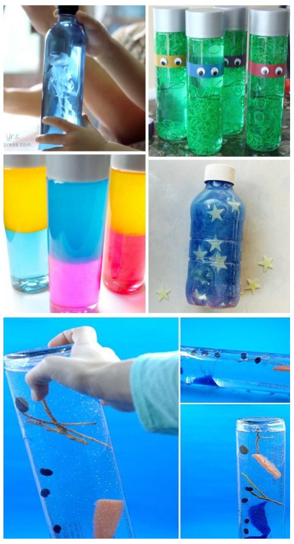 TONS of fun and creative ways to make sensory bottles for kids! #sensoryactivitiestoddlers #sensorybottles #kidssensory #growingajeweledrose #activitiesforkids