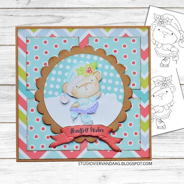 Bella Bear Ice Skating Polkadoodles Handmade Christmas Card