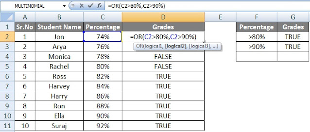 Excel Logical function if, and, or, not use in hindi