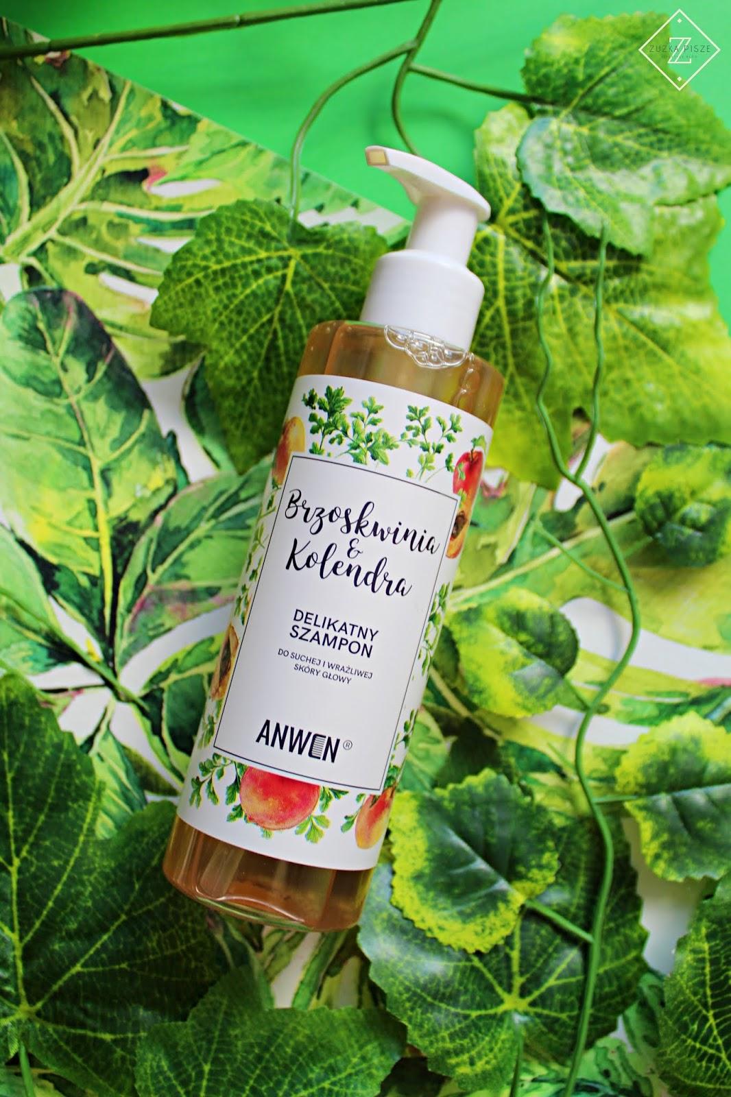 Anwen, szampon Brzoskwinia i Kolendra do suchej i wrażliwej skóry głowy