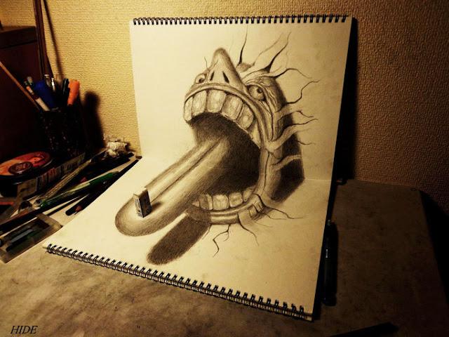 Amazing Nagai Hideyuki 3D Illusion Sketch Art Tongue