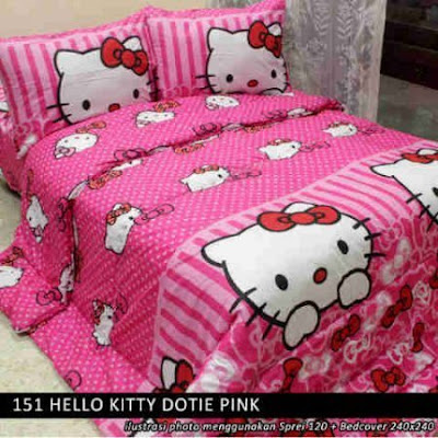 sprei Hello Kitty Dotie Pink