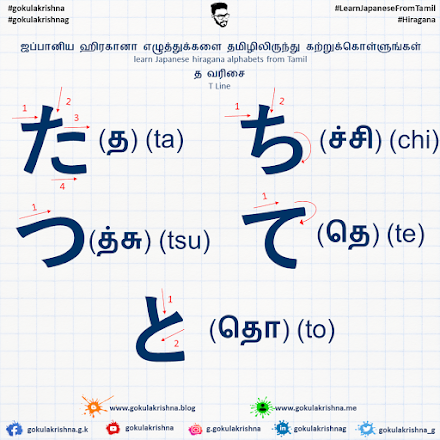 Japanese Hiragana T - Line Consonants with Stroke Order | learn Japanese hiragana alphabets from Tamil - Hiragana Letters Part 4