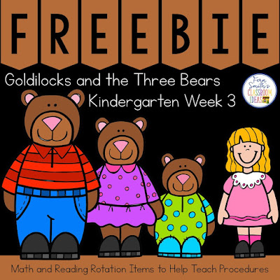 "For your favorite traditional version of Goldilocks and the Three Bears. Write ""3"" and ""three"" on the board or an anchor chart and explain that this is WEEK THREE and that you will be studying all the exciting things related to 3… Goldilocks and  The Three Bears, The Three Little Pigs, the number 3, triangles, etc. Review your expectations for small group and have the students transition to their first new group. The items in this freebie are to help you on your first day, usually the Monday of Week Three to have a consistent theme related to Goldilocks and The Three Bears Freebie on TeacherspayTeachers.  #FernSmithsClassroomIdeas"