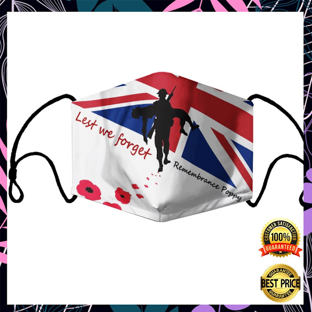 [Sale off] Lest We Forget Remembrance Poppy Face Mask