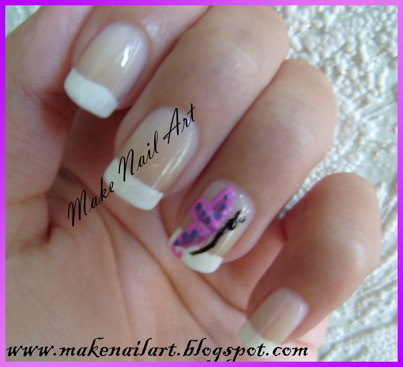 Make Nail Art: Butterfly & French Manicure Nail Art Tutorial