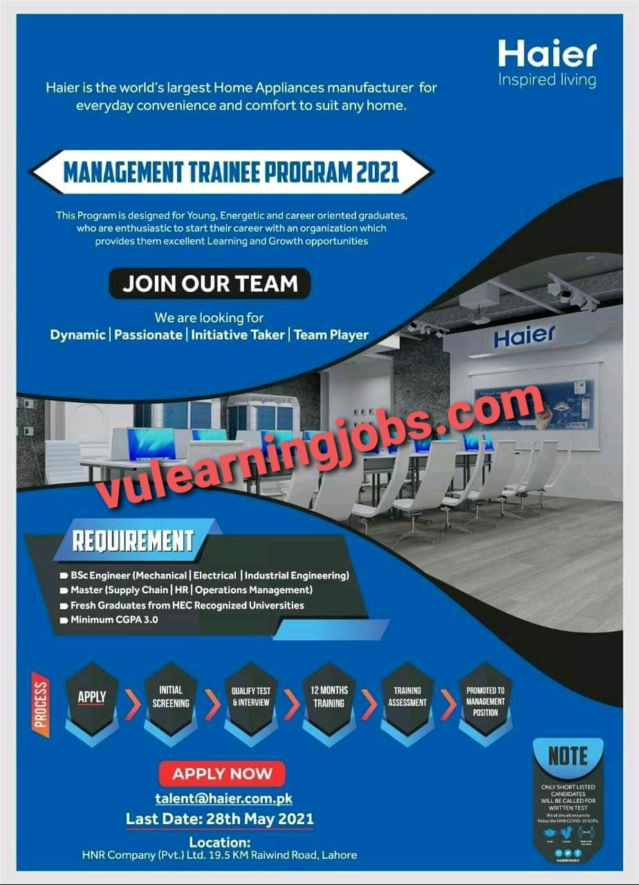 Haier Company Trainee Jobs In Pakistan May 2021 Latest   Apply Now