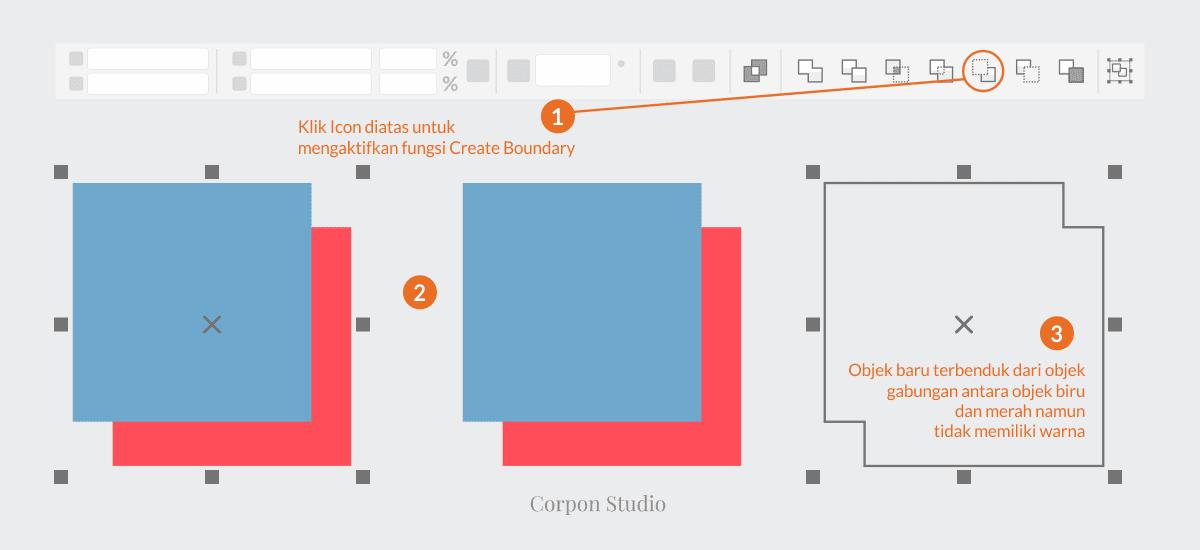 Mengenail Fungsi Tehnik Shaping Pada Coreldraw - Create Boundary