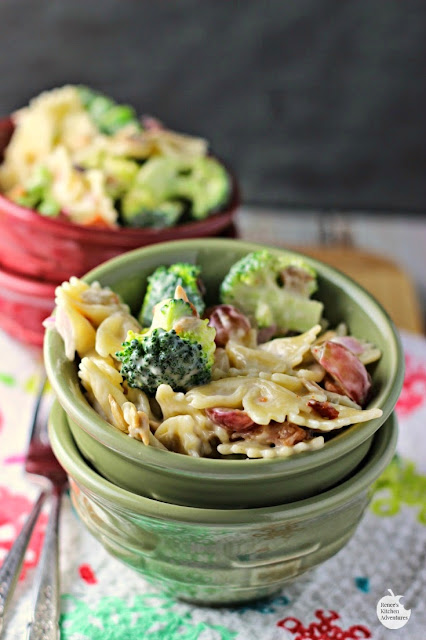 Broccoli and Grape Pasta Salad | by Renee's Kitchen Adventures - Easy recipe for a fresh broccoli and grape side dish perfect for your BBQ or summer party!