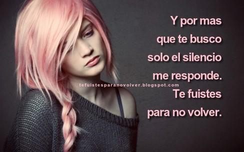 Y por mas que te busco solo el silencio me responde.  Te fuistes para no volver.