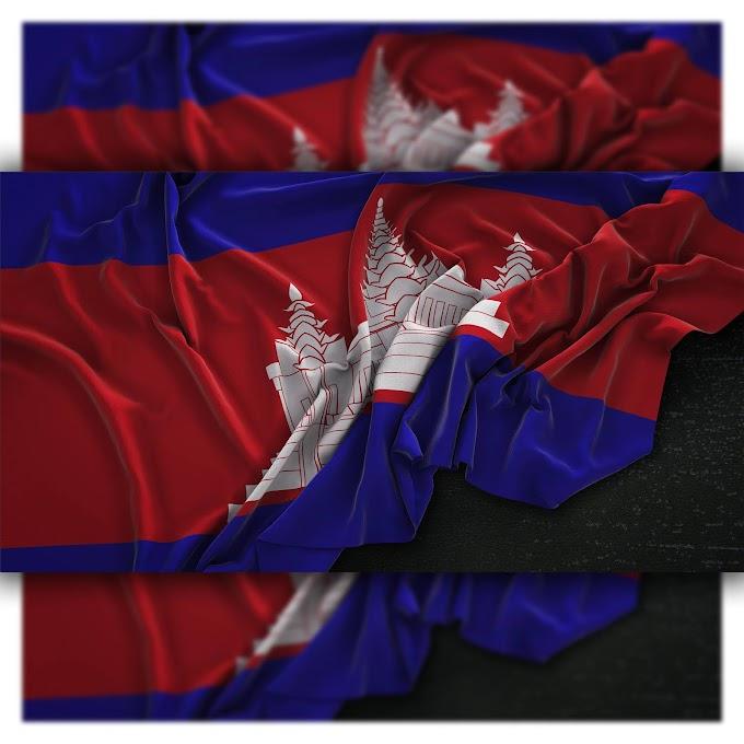 Cambodia flag wrinkled on dark background 3d render Free Photo