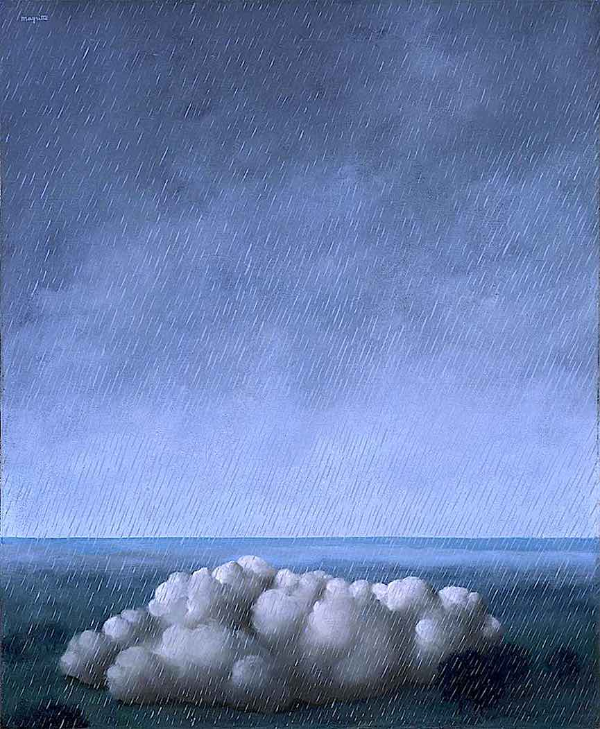a René Magritte painting of a cloud in the rain