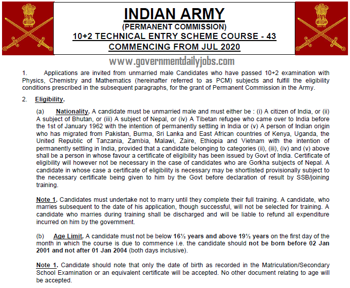 Indian Army 10+2 TES Course 2020
