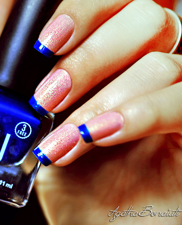Winter nail art ideas 2016 fashion newbys cute blue and pink french tip make your nails spring to life with this adorable blue french tip with pink glitter polish as base prinsesfo Choice Image