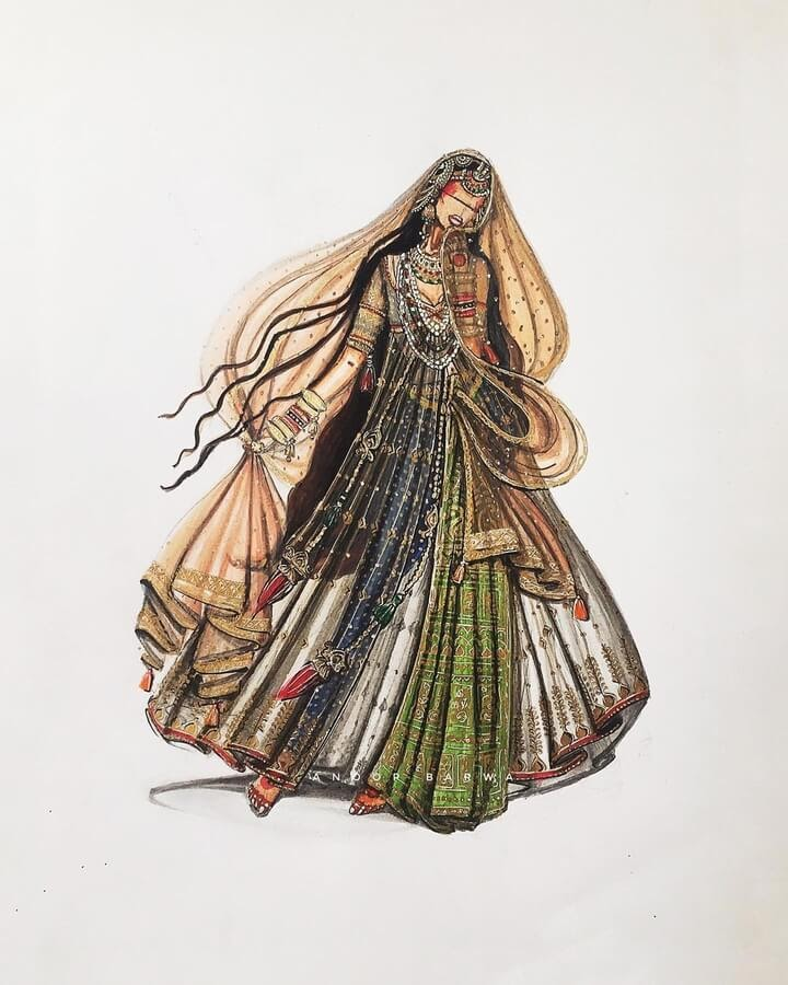05-Indian-Dress-Drawings-Anoopbarwa-www-designstack-co