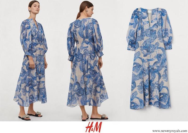 Crown Princess Victoria wore H&M Mosaic-patterned Silk Dress