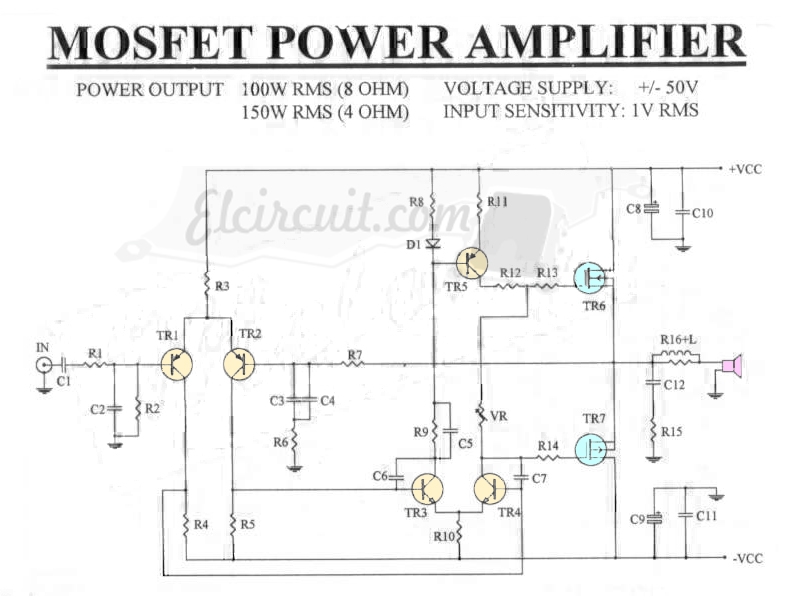 mosfet power amplifier 100w rms 8 ohm electronic circuitmosfet power amplifier 100w rms 8 ohm