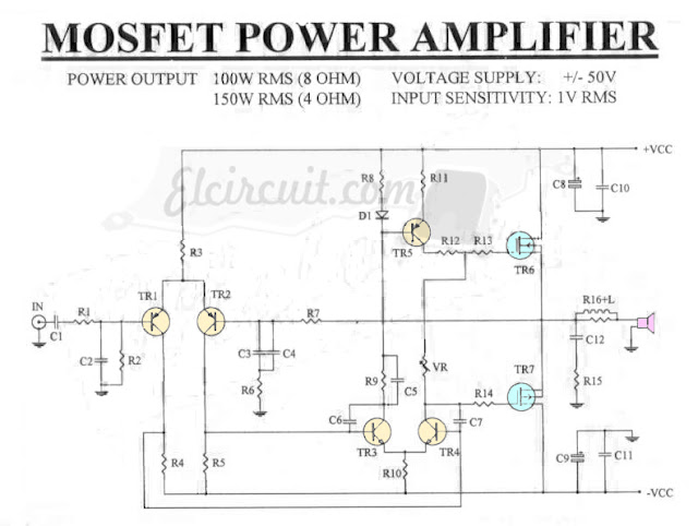 Mosfet Power Amplifier 100W RMS 8 Ohm
