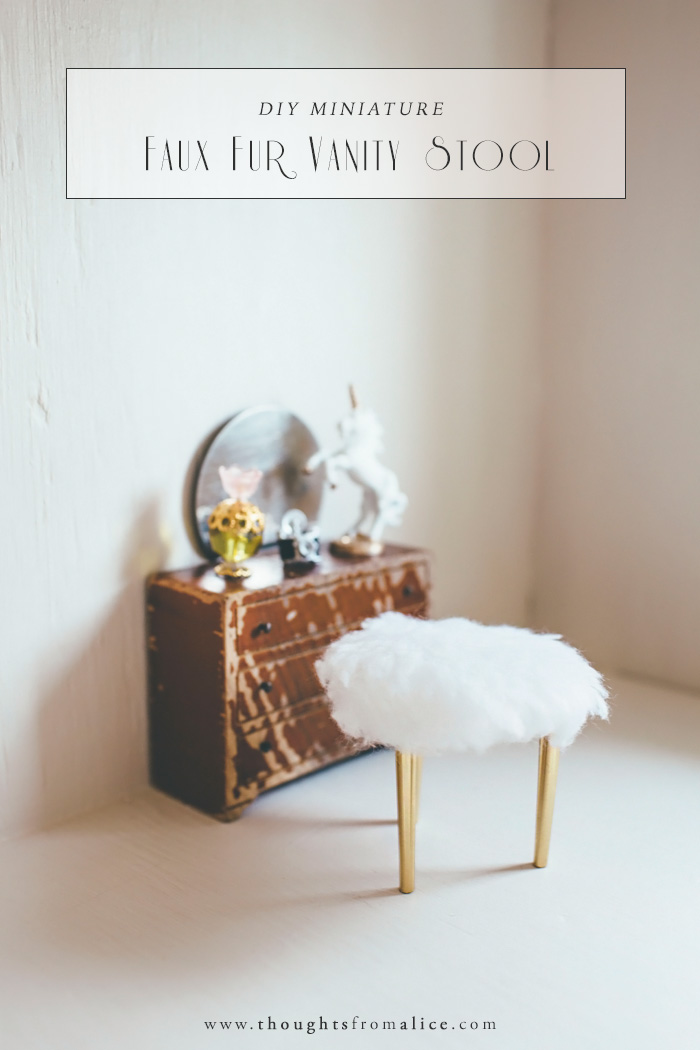 DIY Miniature Faux Fur Vanity Stool