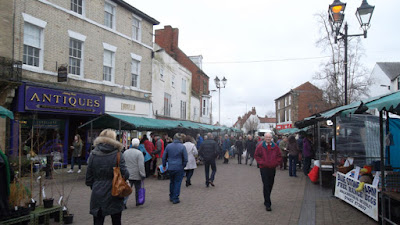 Shoppers visiting February stalls on Brigg Farmers' Market - see Nigel Fisher's Brigg Blog
