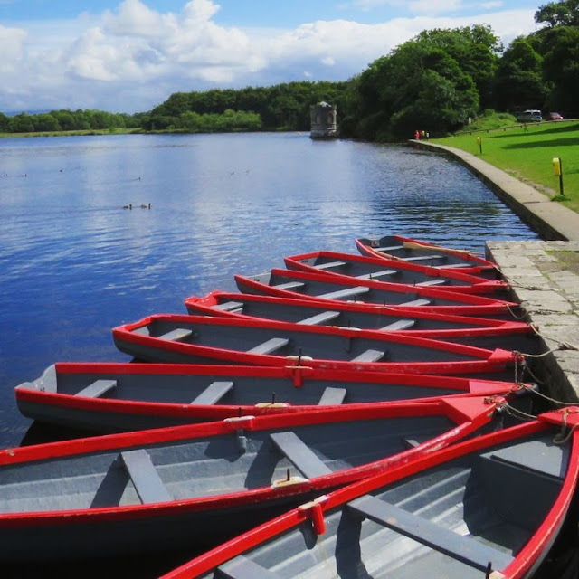Red rowboats on Lough Key in County Roscommon, Ireland