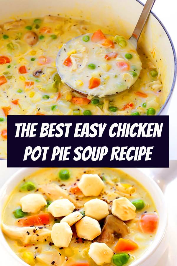 This Chicken Pot Pie Soup recipe is simple to make, lightened up with a few easy tweaks, and deliciously rich and creamy. #chicken #potpie #soup #chickenpotpie #comfortfood #dinner