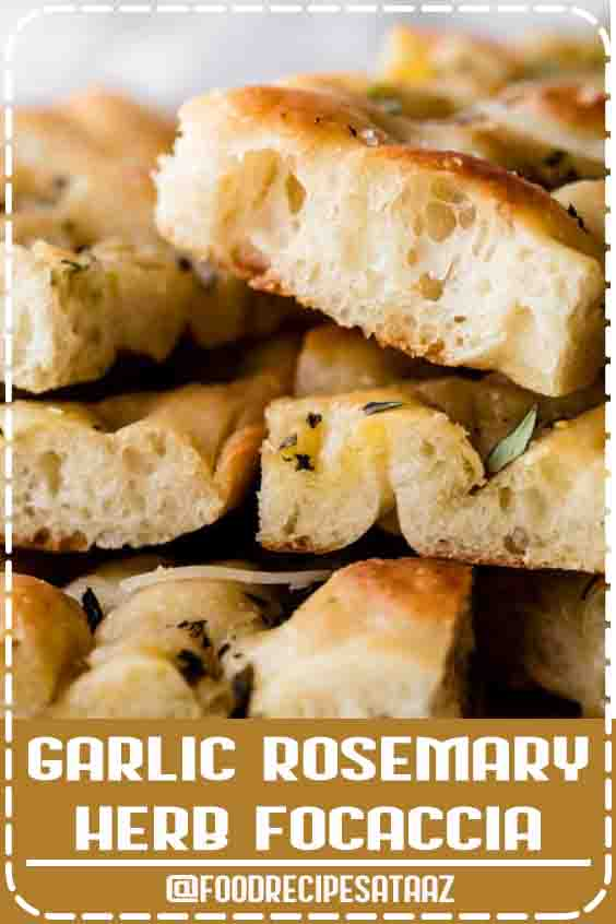 4.8 ★★★★★ | This simple 6 ingredient focaccia dough is a wonderful starting point for many different flavors, including this garlic rosemary herb focaccia. The homemade bread is chewy and soft in the center with a mega crisp exterior. For the best flavor and texture, let the dough rest in the refrigerator overnight. #Rosemary #Focaccia #Recipe