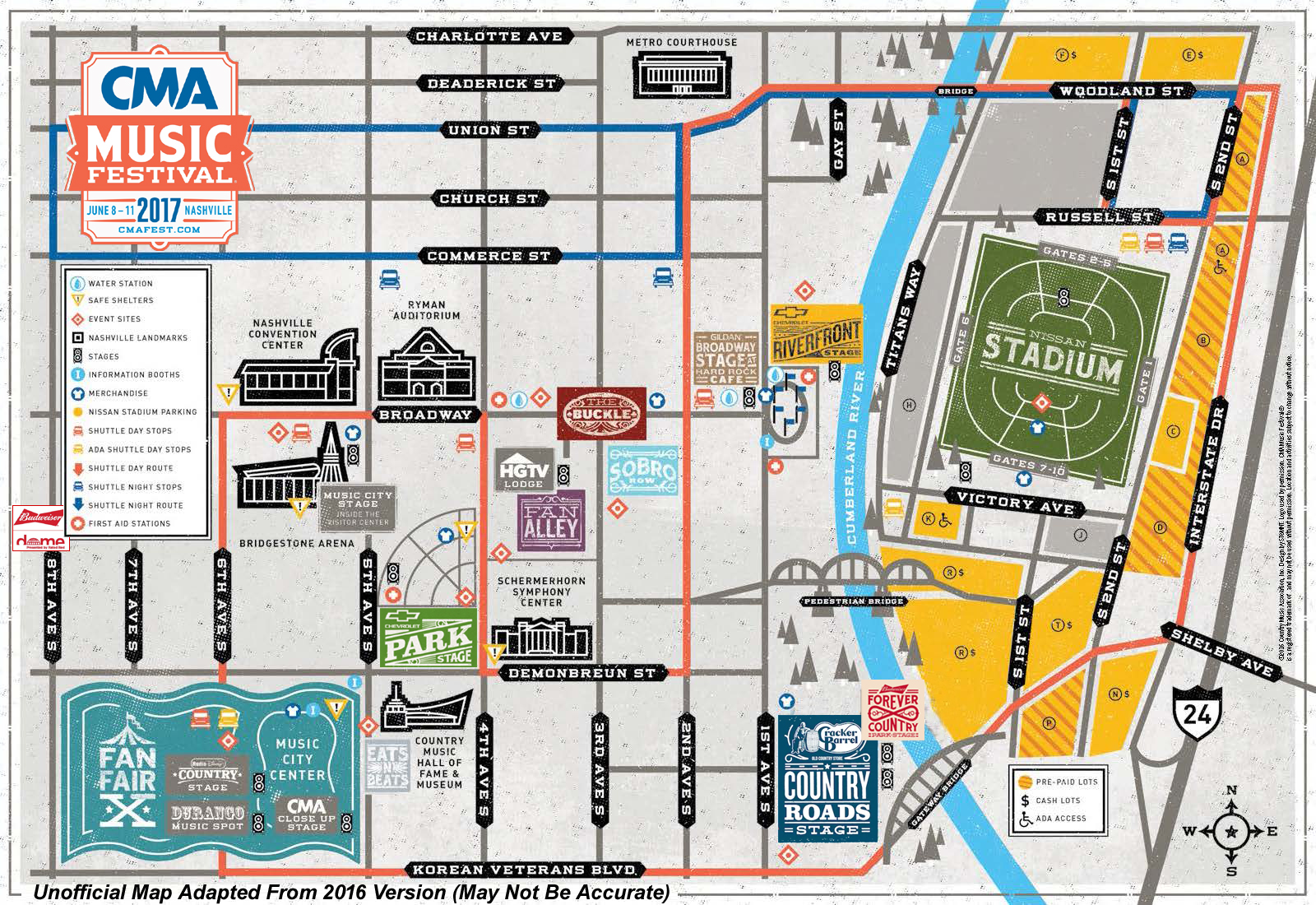 Since The Cma Hasnt Seen Fit To Release This Years Festival Map We Took The Liberty Of Updating Last Years This Is An Unofficial Map That May Not Be