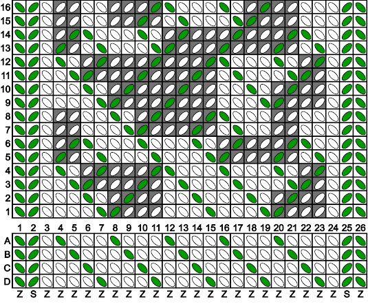 A tablet weaving draft for a band in white and green, with a branching, leafy motif