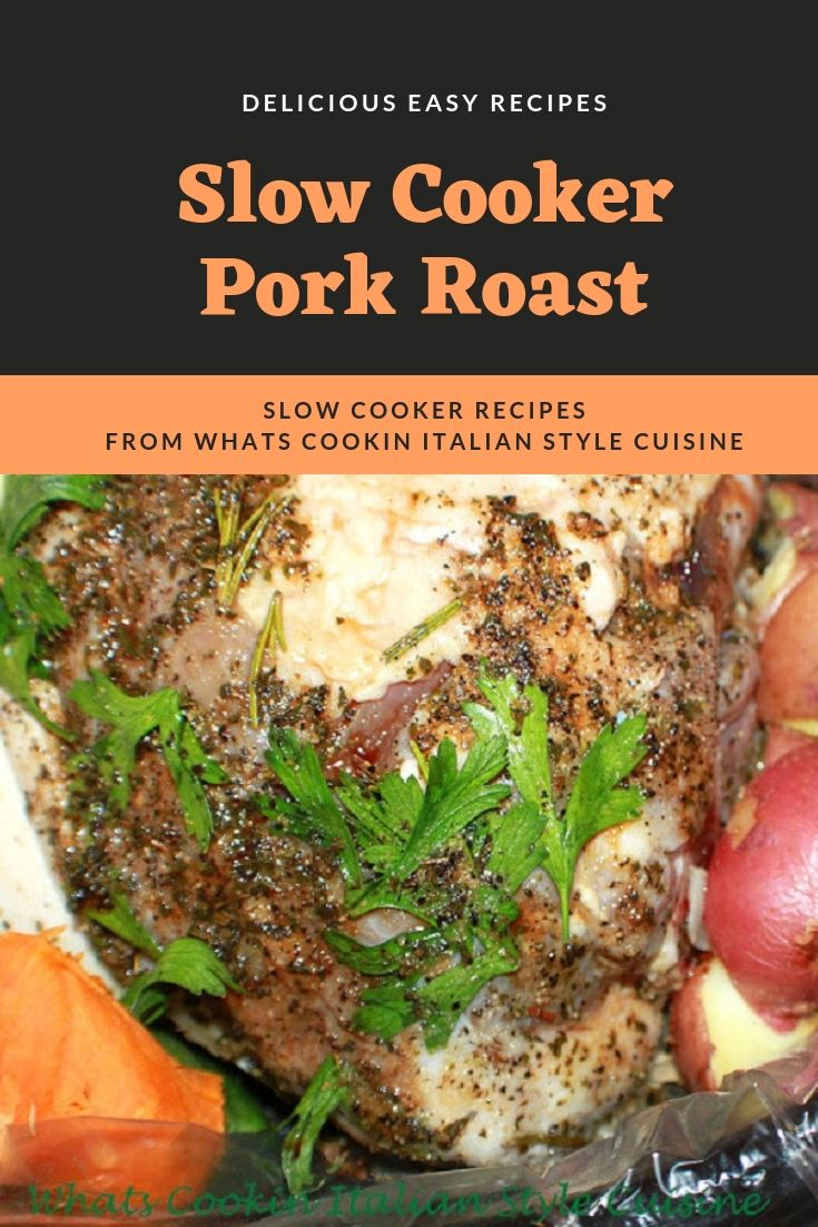 this is a slow cooker pork roast with sweet and white potatoes and on top is fresh parsley