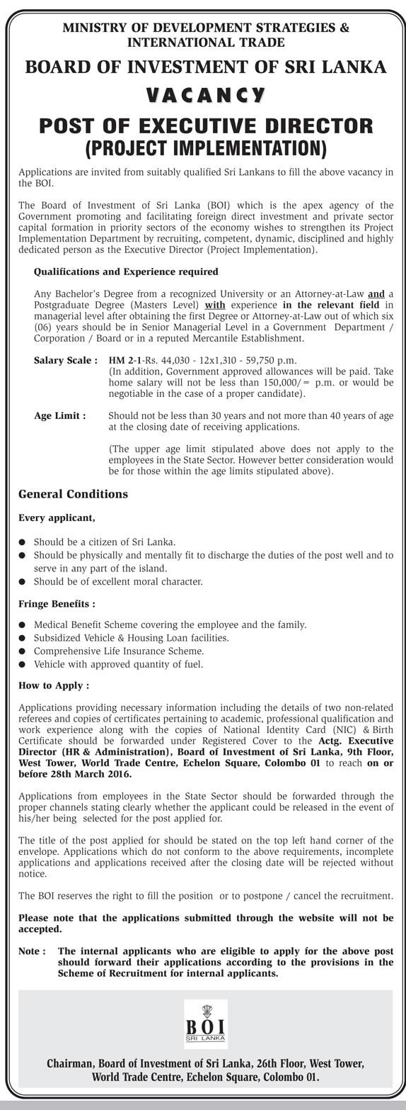 Vacancies – Executive Director - Board of Investment of Sri Lanka - Ministry of Development Strategies & International Trade