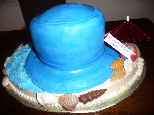 Beach Bucket Hat Birthday Cake