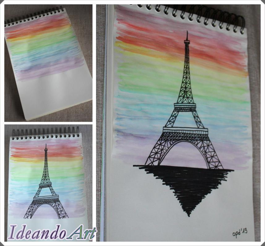 Torre Eiffel acuarela