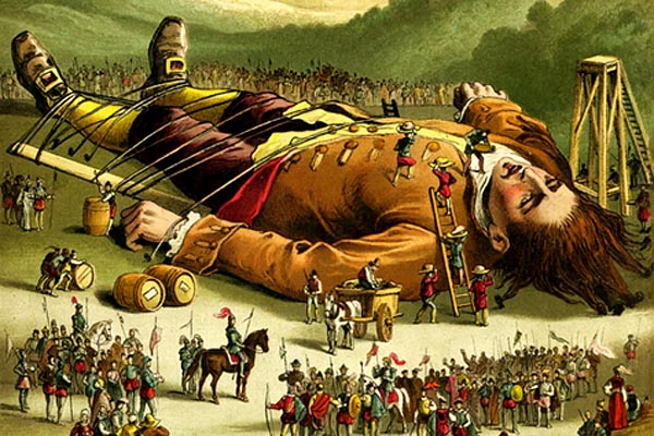 in a color illustration, a seeming giant is lashed to the ground by ropes passed over his body while a troop of little people gazes toward him in the foreground