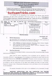 HSSC Food & Supply Sub-Inspector Exam Date