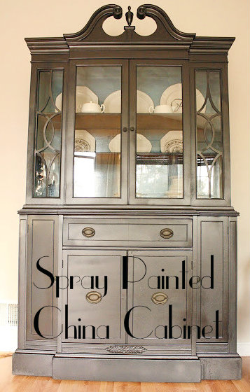 Living Room Updates: Spray Painted China Cabinet Makeover ...