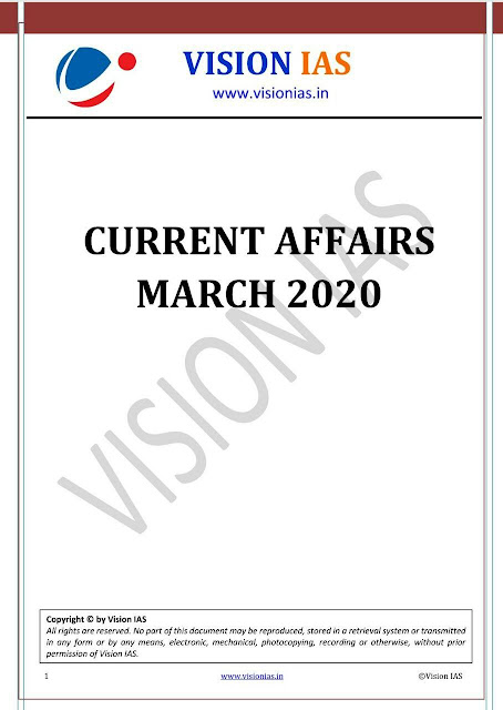Vision IAS Monthly Current Affairs (March 2020) : For UPSC Exam PDF Book