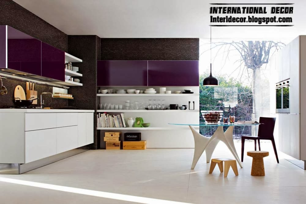 Modern Kitchen With Sensual Purple Kitchens Designs - Modern Home ...