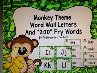 Monkey/Jungle Theme Word Wall