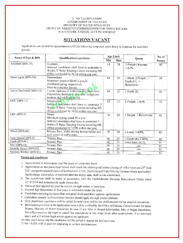 Latest Jobs in Ministry of Water  Resources MOWR 2021- Application Form Download