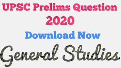 UPSC Paper 1 General Studies Question Paper 2020