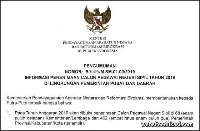Pengumuman Pendaftaran CPNS 2019 di Lingkungan Pemerintah Pusat dan Daerah