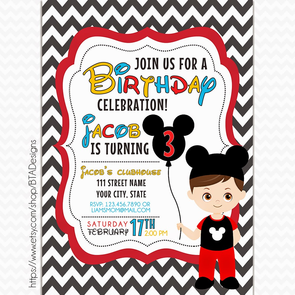 This is an image of Rare Printable Mickey Mouse Invitations