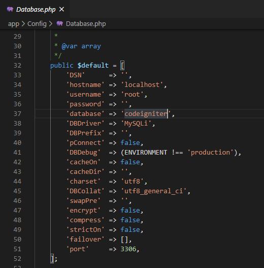 konfigurasi database codeigniter 4