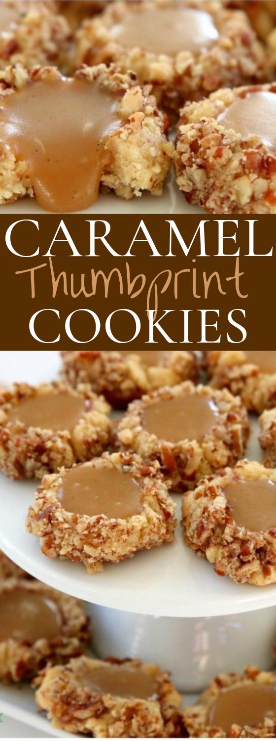 Caramel Thumbprint Cookies #cookies #desserts