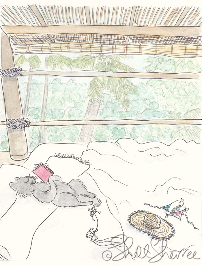 Cat Travel in Treetops illustration  © Shell Sherree all rights reserved