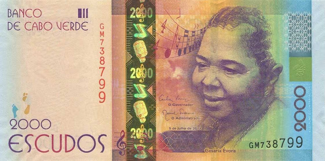 Currency of Cape Verde 2000 Escudos banknote 2014 singer Cesária Évora