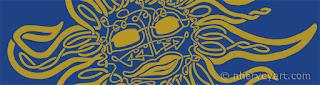 """Jus' Chillin'"" Closeup digital art, Celtic knot sun"