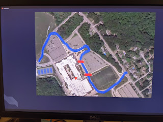 proposed route through the FHS parking lots for diploma distribution