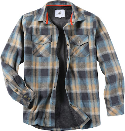 Lined Plaid Flannel Shirts Jackets For Men